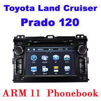 Car DVD for Toyota Land Cruiser Prado 120 Headunit GPS Navigation Stereo With Bluetooth Phonebook 8GB Map Card Free Shipping