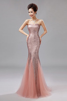 2013 Wedding Formal Dress Tube Top Fish Tail Long Design Costume Bride Wedding Dinner Slim Sequined mesh Dress