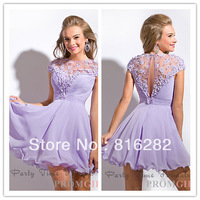 Beach Light Purple Scoop Lace See Through Back Mini Chiffon Homecoming Dresses