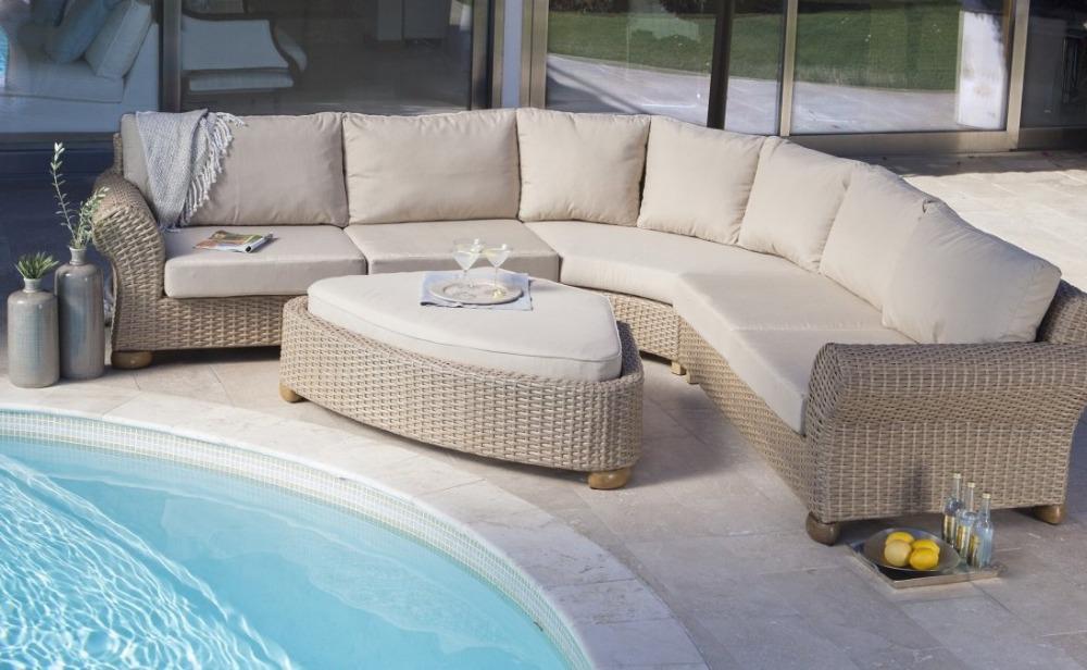 2014 de lujo muebles para el hogar clásico 5 Seater rattan corner