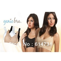Genie Bra with removable pads Women's Two-double Vest BODY SHAPER Push Up BREAST RHONDA SHEAR Free Shipping