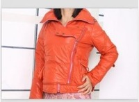 Fashion Hooded Zipper Embellished Lapel Collar Warm Coat Orange BJ13092201 Sent from Russia