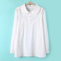 fashion elegant women casual all-match white The lantern sleeve collar three button shirt female autumn Hot-selling KKS518