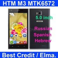 """Original HTM M3 MTK6572 dual core 1.3GHZ 5.0"""" Andriod 4.2 mobile phone 4GB ROM 5MP Dual Sim WCDMA GPS Russian menu in stock/ELMA"""