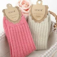 Wholesale 5pairs=10Pcs/Lot Fashion Long Sock Mouth 100%Cotton Warm Winter Socks women,SIZE Fits ALL#MZ004, Free Shipping