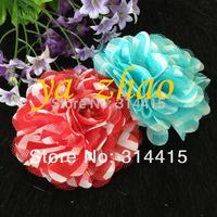 "3""  chevron chiffon  Mesh silk rosette  Flowers,  50pcs/lot, mixed 12colors, free shipping"