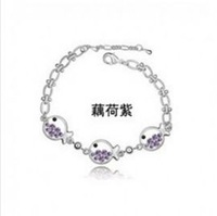 Lovely Shining Violet Rhinestone Fish Bracelet Silver HD12092939-4 Sent from Russia