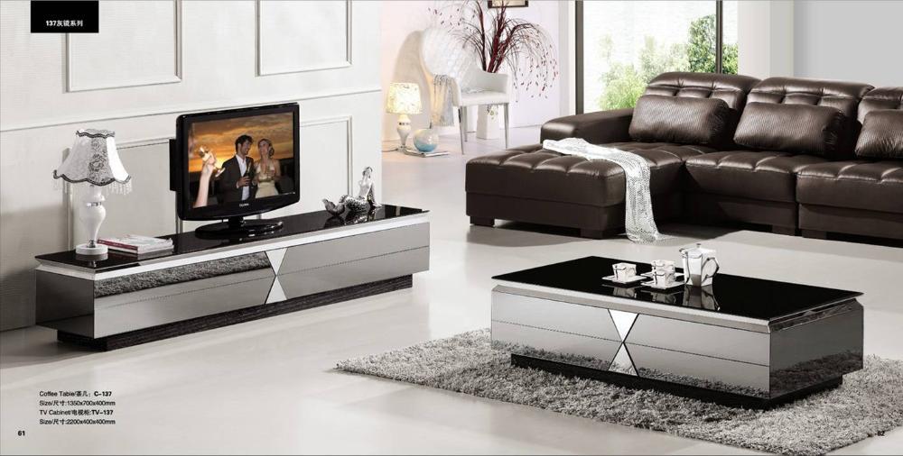 grijze spiegel moderne meubels, salontafel en TV-meubel set, slim en ...