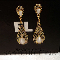 European and American fashion retro style drip-shaped bronze inlaid opal earrings