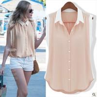 2013 Fresh women's Sleeveless Color Block Decoration Chiffon Shirts Solid Color Blouse women Slim All-match Shirt ZGL8073LBR