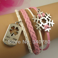 new 2013 wrap bracelets & bangles items,for lovers,chunk,you are my only,snowflake,pink and white Leather Cords bracelet C017