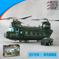 KAZI 84009 622pcs 3D construction eductional plastic Building Blocks Sets Military transport aircraft Helicopter children toys