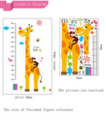 DIY Removeable Wall Sticker Happy Childhood of Lovely Giraffe Height Sticker Home Decoration for Living Dinner Room or Bedroom