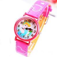 High Quality Princess Cartoon Children's Watch Fashion Girls Students Baby Kids Casual Leather Quartz Wrist Watches Clock Gift