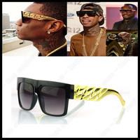 2013 Kim kardashian Celebrities Metal Gold Chain Oversized Shades Sunglasses Men/ Women Brand Design Sun glasses Free shipping