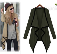 Free Shipping European Style Spring&Autumn Fashion Irregular Casual Long Sleeve Open Front Cardigan Knitting Shirt Coat LBR0122