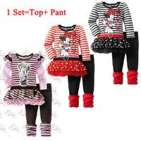 [ Bear Leader ] NEW Brand Children Girl  Set O-neck Long Sleeve Cartoon Minnie Striped T Shirt+Pants Girl Suit Autumn ATZ031