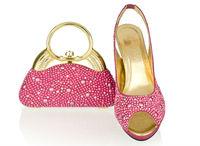 2014 italian design shoes with matching bags,high quality open toe hihg heels for women wedding/party,fushia pink,SB8786