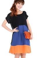Free Shipping Women Plus size summer 2014 color block chiffon dress 4669 L XL XXL XXXL 4XL 5XL 6XL