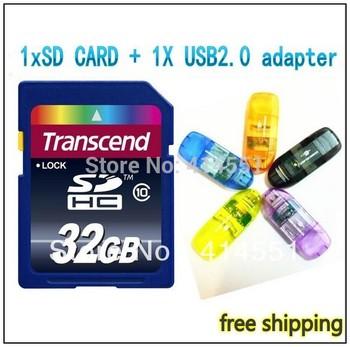 32GB 16GB SD CARD HC Transcend Transflash SD CARD SDHC Flash Memory Card + Retail box + Gift USB adapter + Free shipping!