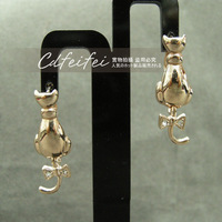 Lovely bow tie cat earrings rigant 08508200360260aa