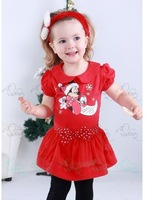 5pcs 100% cotton baby girl's fashion short sleeve dresses 2014 summer mickey christmas red princess skirt children's dresses 3T
