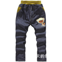 Free shipping boy character long pants children fashion jeans trousers kids winter thick cotton-padded trousers