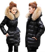 New 2013 Luxury large fur collar medium-long thickening down coat winter jacket women fur coat M brand down jacket,free shipping