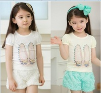 Free shipping 2colors 2014 new summer Girls' suits girls cute lace sleeve T-shirt + Rose shorts children clothing with hairband