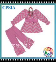 Free shipping baby girl clothing set pink chevron toddlers outfit  long sleeve coat with ruffle pants &necklace 12sets/lot