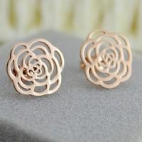 Factory Outlet super good quality camellia earrings rose gold titanium steel rose gold plated earrings K Stud Earrings Girls