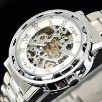Free Shipping Hot! Mens Face Automatic Luxury Steel Wrist Watch Skeleton men's Mechanical Watch Smart Watch