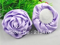10PC Big Satin 75mm Ribbon Rose Flower purple colors