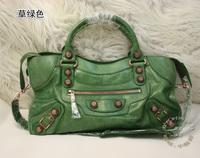 Big rose gold Large 43cm cowhide genuine leather motorcycle bag green women messenger bag bolsas designer branded