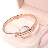 Luxury Brand Replica Jewelry Watch Design Bangle White Shell Titanium Stainless Steel Rose Gold Bracelet Bangle Women Acessorios