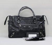 Brand  Medium city 38cm motorcycle bag with classic silver rivets women messenger bag bolsas genuine leather women's handbag