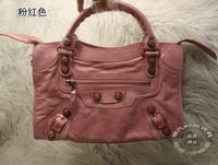 Big rose gold Medium 38cm motorcycle bag handbag one shoulder women's handbag Pink cowhide 332c