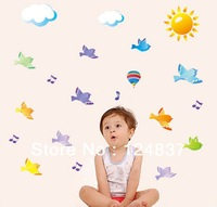 Musical Notes And Birds Wall Stickers Home Decor For Kids Room Child Favorite Poster House Decorative Cartoon Animal Nursery Art