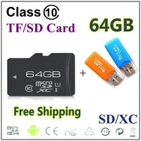 32GB 64GB class 10 Micro SD Memory Card TF card +With retail packaging+USB adapter free shipping