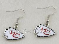 Free shipping 10pair a lot fashion rhodium plated kansas city chiefs  charm sport dangle earrings