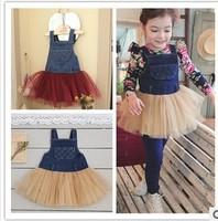 5pcs/lot baby girls suspender dress fashion denim-lace patchworked dress children spring autumn dresses Overalls Dresses