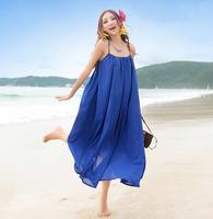 2014 women's bohemia chiffon suspender skirt one-piece dress bottom midguts expansion plus size beach dress