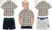 New brand name POLO baby boys cotton plaid short sleeve t-shirt shorts set children's clothing kids casual polo clothes suit