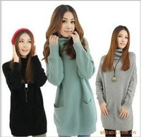 2014 Hot Sale Long Sleeve ruffled collar  5 Color In Stock big size Women warm big  pockets  Pullover  long Sweater dress