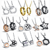 Free Shipping! MIXED ORDER Hot Sell Stainless Steel Pendent Necklace For Lover Fashion Couple Jewelry 10pcs/lot