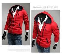 NEW 2014 Hoodies men nice deer embroidery cardigans with splicing hoodie zipper long sleeve casual sweatsport coat freeshipping