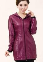 Leather clothing female 2014 spring and autumn coat women slim medium-long leather coat ladies outerwear leather jacket women