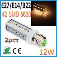 Free shipping 2pcsx 12W 42LED 5630 SMD E27 E14 B22 Corn Bulb Light Maize Lamp LED Light Bulb Lamp LED Lighting
