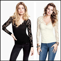 2014 S/S V-neck Lace Long Sleeve Slim Top T-shirt