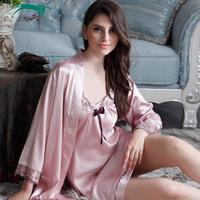 Cat autumn faux silk sleepwear charming silk spaghetti strap nightgown robe twinset